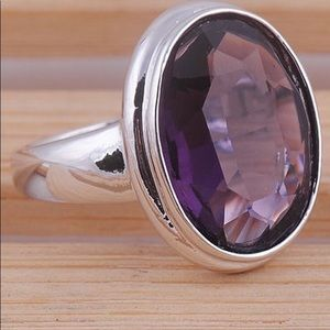 925 stamped silver ring with large tanzanite stone